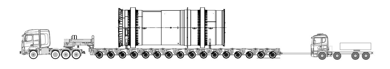 Höyrykuivaimen kuljetus moduulilavetilla Havator